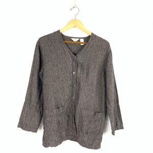 J. Jill LS 100% Linen V-Neck Button-Down Top Shirt